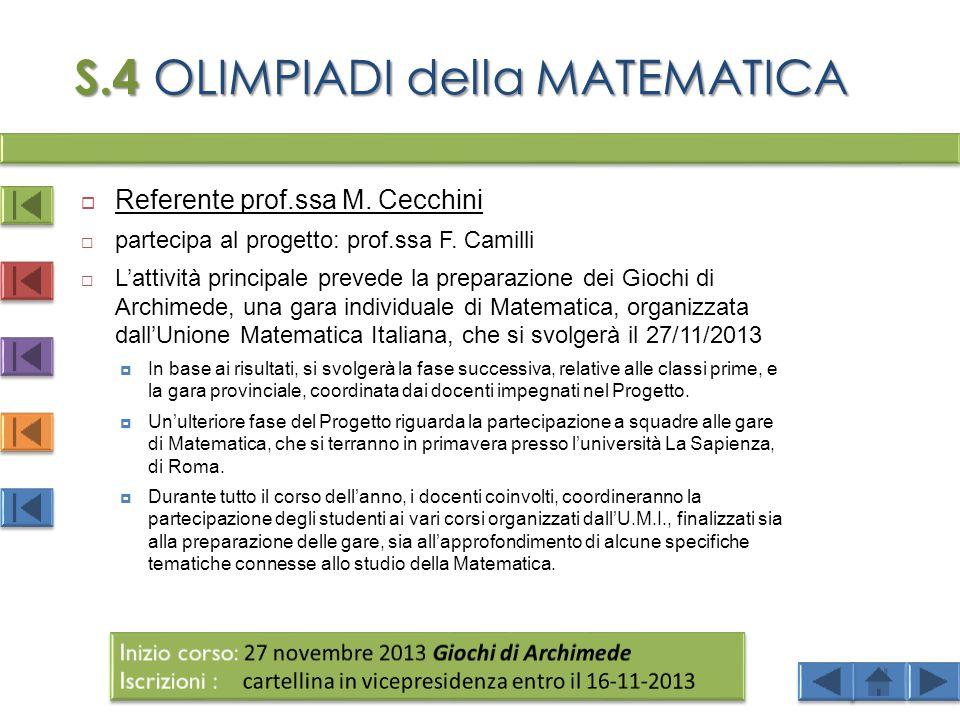 S.4 OLIMPIADI della MATEMATICA