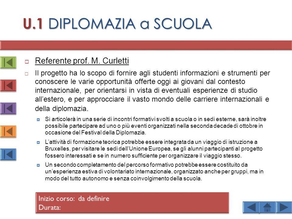 U.1 DIPLOMAZIA a SCUOLA Referente prof. M. Curletti