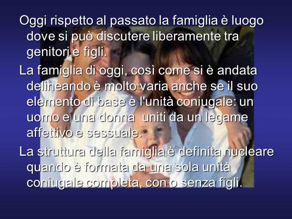 Oggi rispetto al passato la famiglia è luogo dove si può discutere liberamente tra genitori e figli.