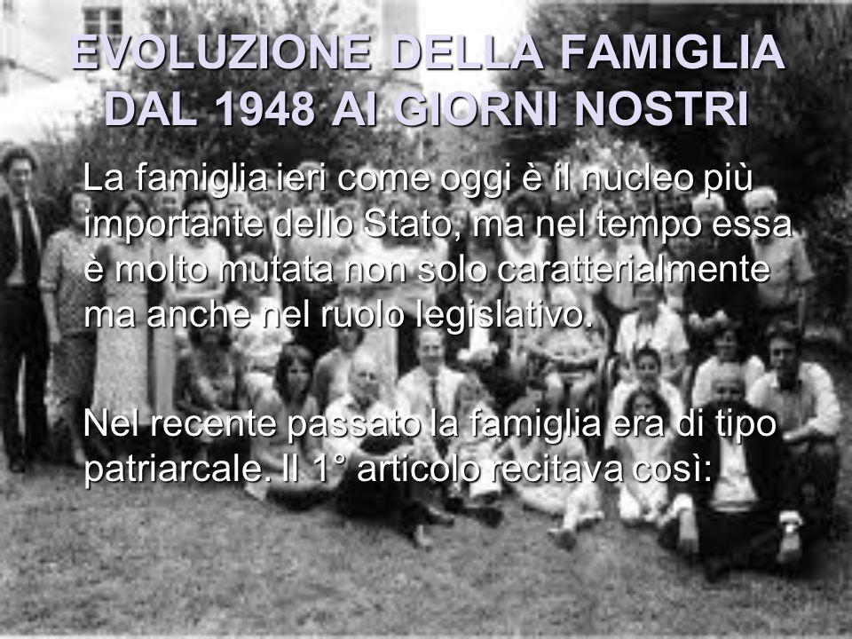 EVOLUZIONE DELLA FAMIGLIA DAL 1948 AI GIORNI NOSTRI