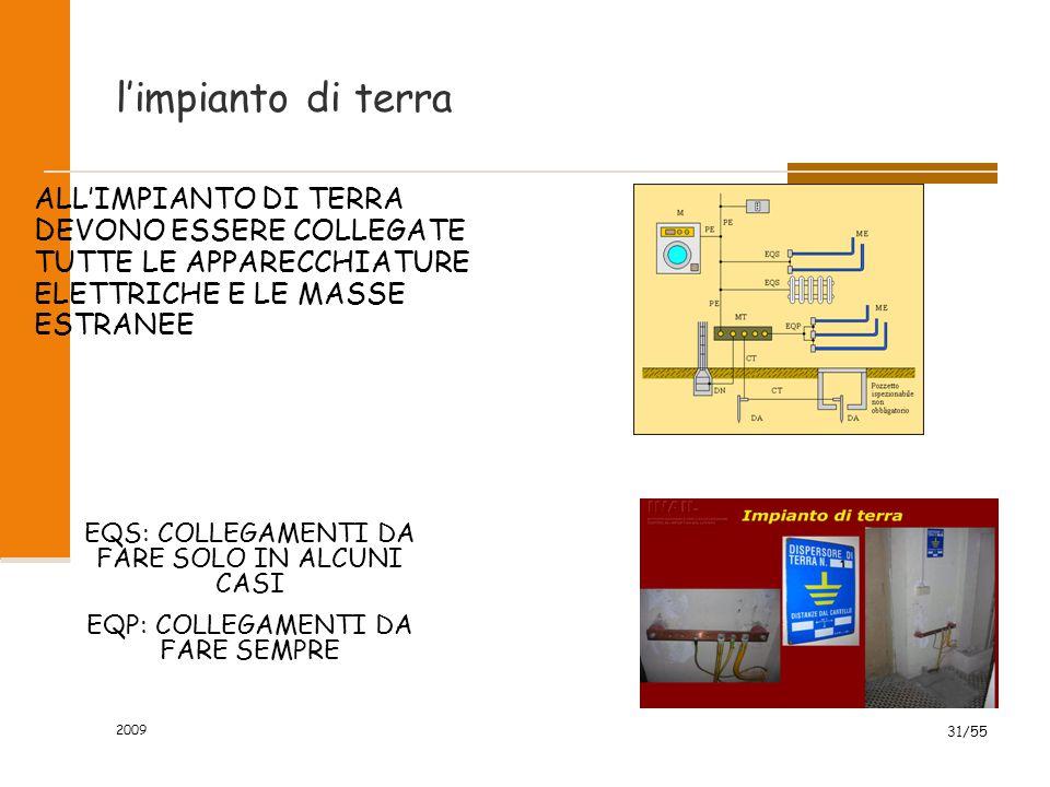 l'impianto di terra ALL'IMPIANTO DI TERRA DEVONO ESSERE COLLEGATE TUTTE LE APPARECCHIATURE ELETTRICHE E LE MASSE ESTRANEE.