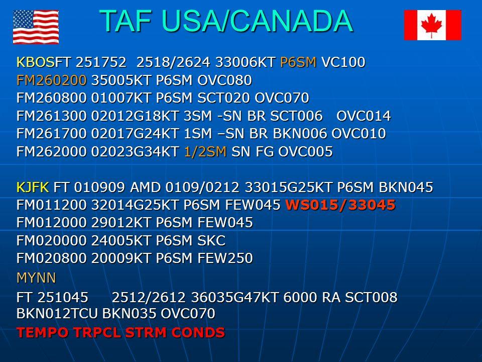 TAF USA/CANADA KBOSFT 251752 2518/2624 33006KT P6SM VC100
