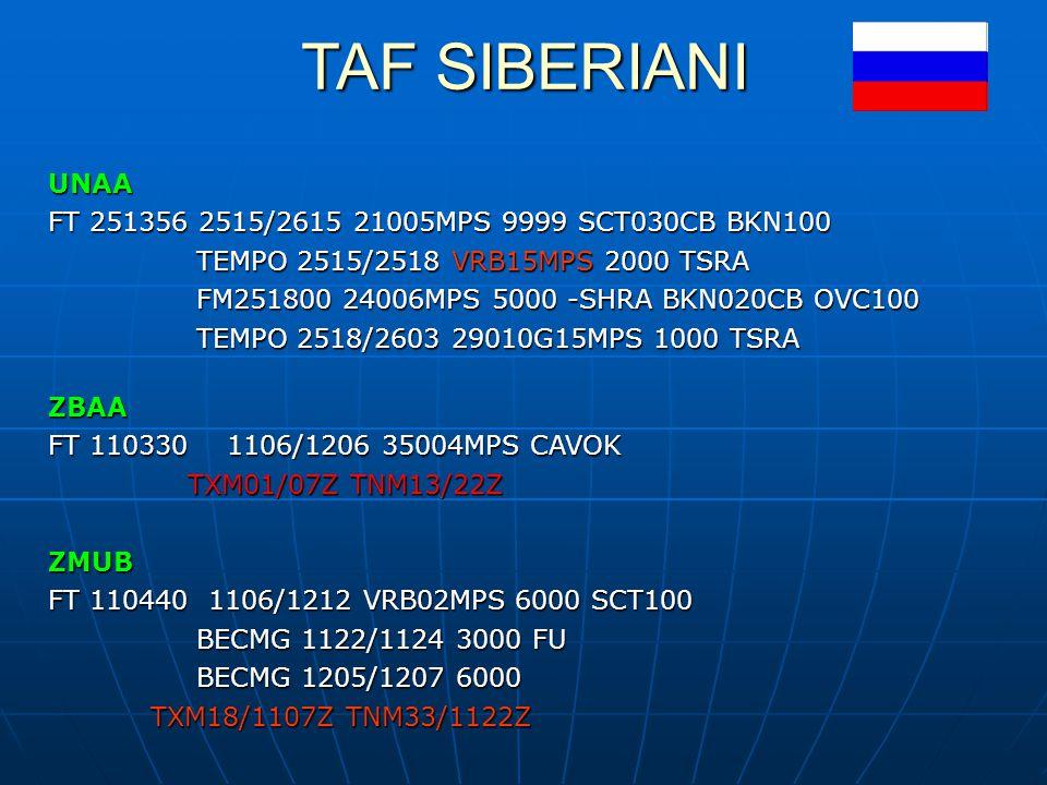 TAF SIBERIANI UNAA FT 251356 2515/2615 21005MPS 9999 SCT030CB BKN100
