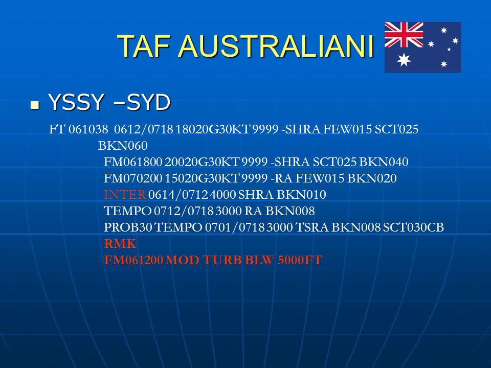 TAF AUSTRALIANI YSSY –SYD