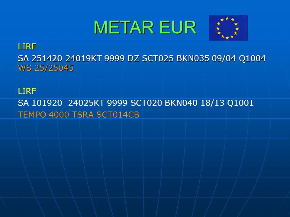 METAR EUR LIRF. SA 251420 24019KT 9999 DZ SCT025 BKN035 09/04 Q1004 WS 25/25045. SA 101920 24025KT 9999 SCT020 BKN040 18/13 Q1001