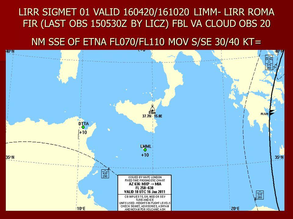 LIRR SIGMET 01 VALID 160420/161020 LIMM- LIRR ROMA FIR (LAST OBS 150530Z BY LICZ) FBL VA CLOUD OBS 20 NM SSE OF ETNA FL070/FL110 MOV S/SE 30/40 KT=