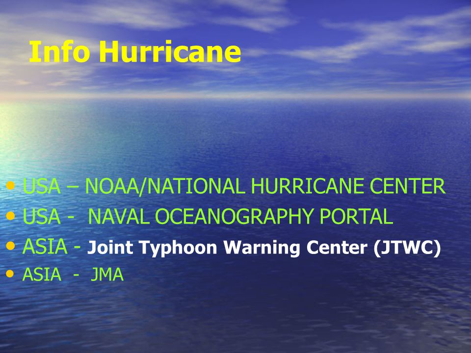 Info Hurricane USA – NOAA/NATIONAL HURRICANE CENTER