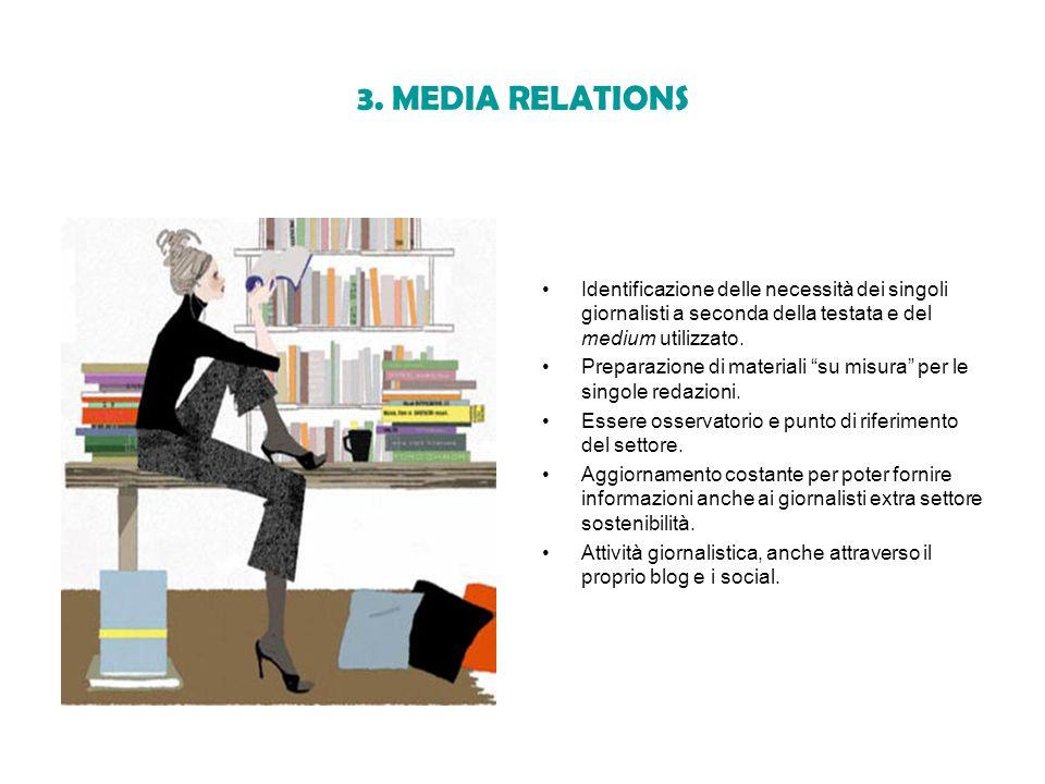 3. MEDIA RELATIONS Identificazione delle necessità dei singoli giornalisti a seconda della testata e del medium utilizzato.