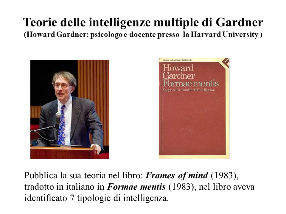 Teorie delle intelligenze multiple di Gardner (Howard Gardner: psicologo e docente presso la Harvard University )