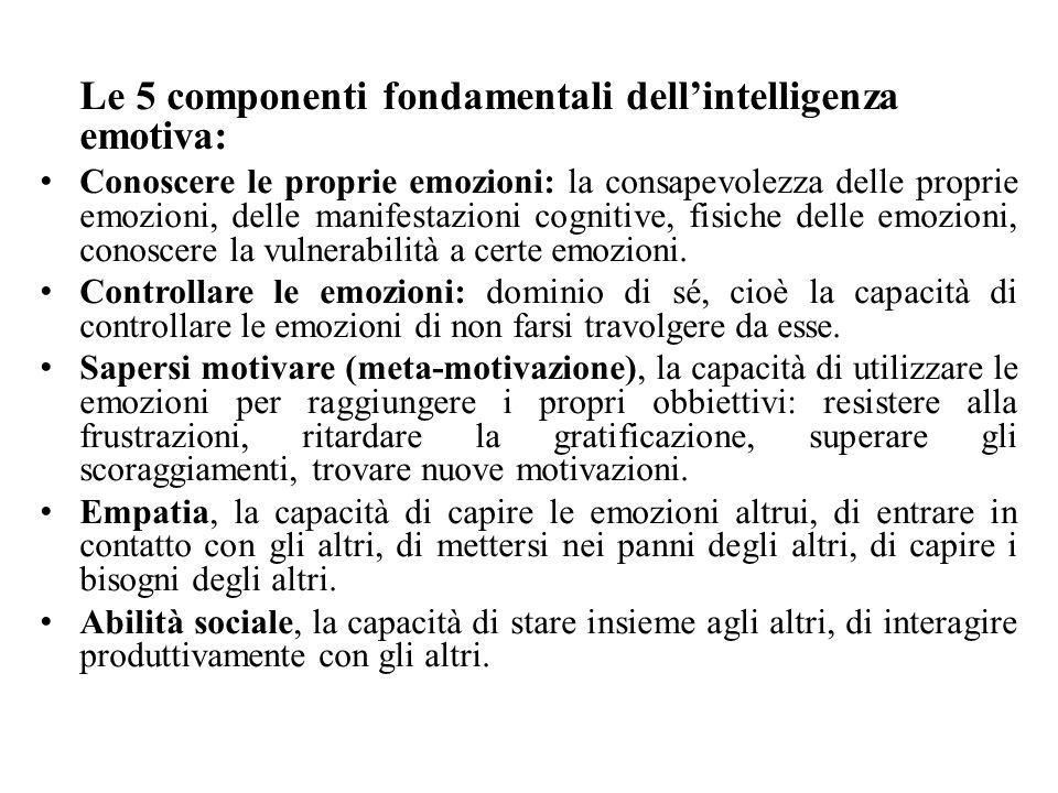Le 5 componenti fondamentali dell'intelligenza emotiva: