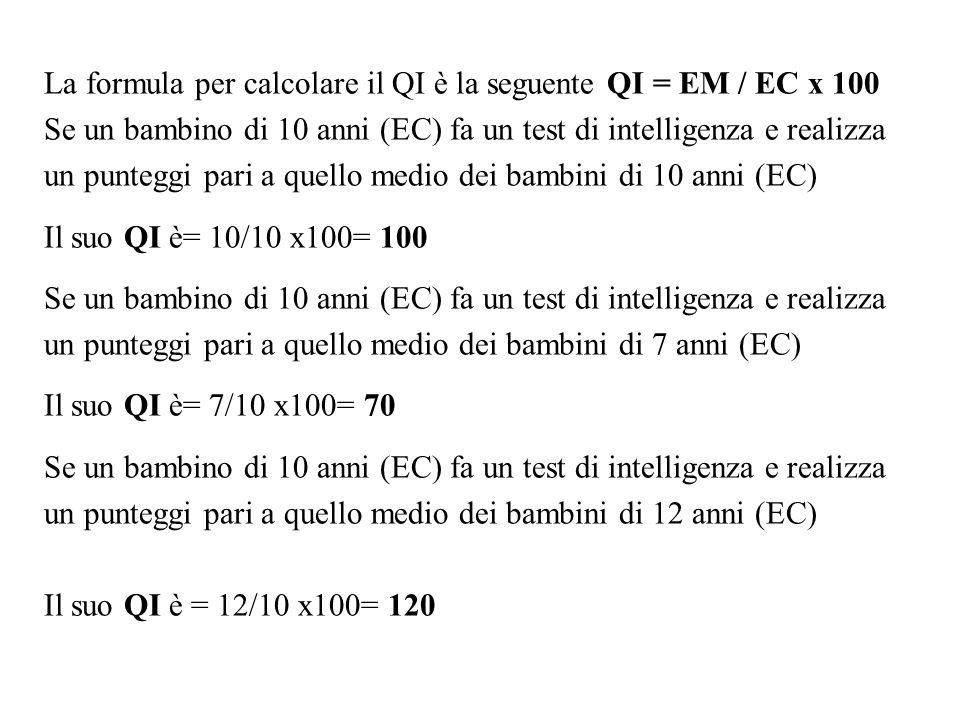 La formula per calcolare il QI è la seguente QI = EM / EC x 100