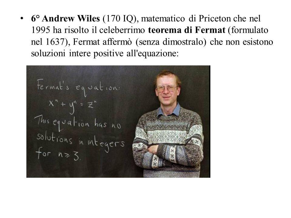 6° Andrew Wiles (170 IQ), matematico di Priceton che nel 1995 ha risolto il celeberrimo teorema di Fermat (formulato nel 1637), Fermat affermò (senza dimostralo) che non esistono soluzioni intere positive all equazione: