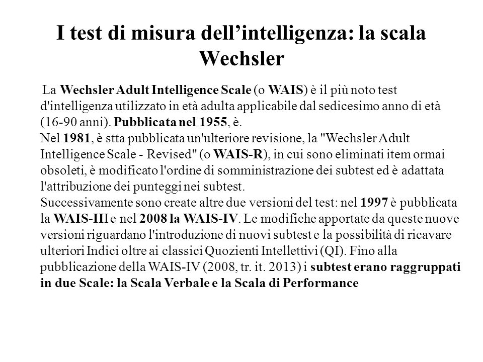 I test di misura dell'intelligenza: la scala Wechsler