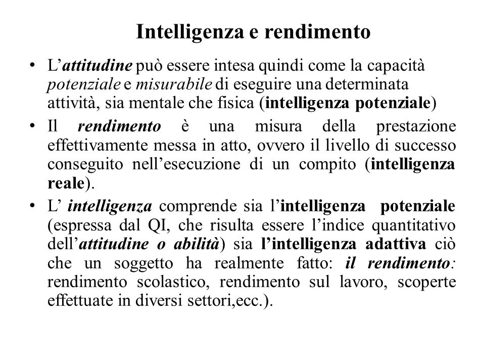 Intelligenza e rendimento