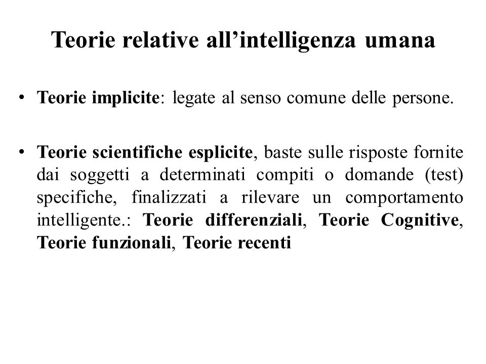 Teorie relative all'intelligenza umana