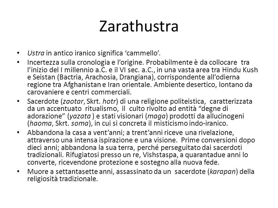 Zarathustra Ustra in antico iranico significa 'cammello'.