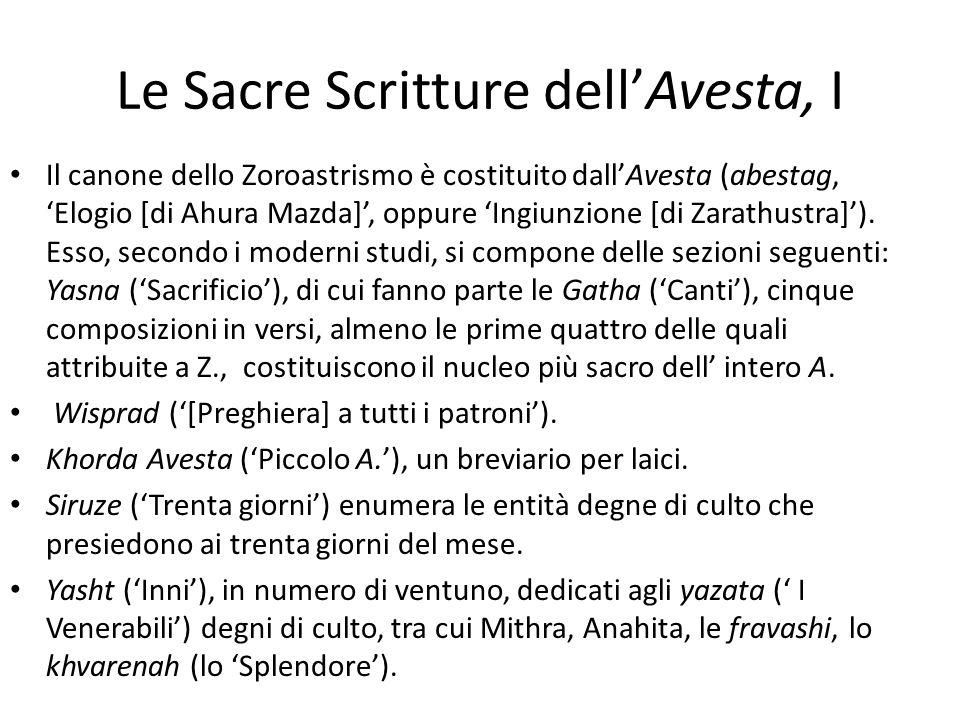 Le Sacre Scritture dell'Avesta, I