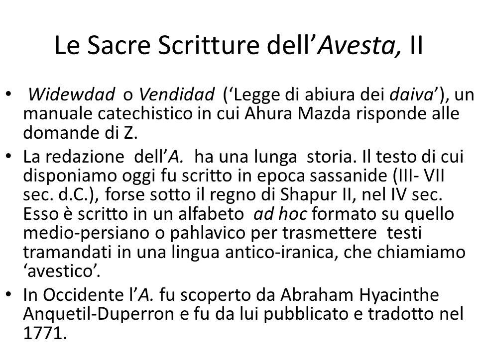 Le Sacre Scritture dell'Avesta, II