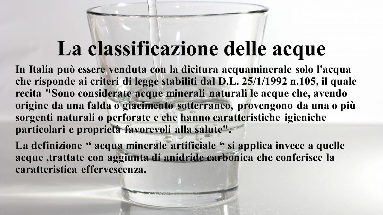 La classificazione delle acque