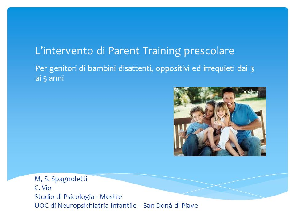 L'intervento di Parent Training prescolare