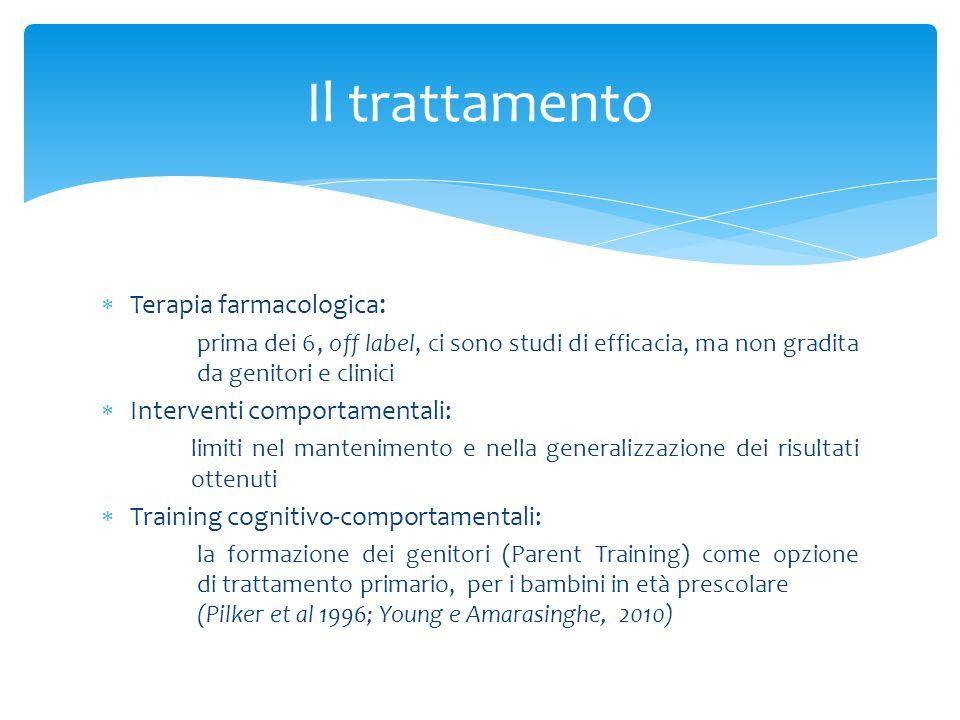 Il trattamento Terapia farmacologica: Interventi comportamentali: