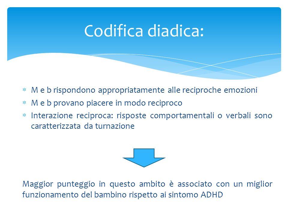 Codifica diadica:M e b rispondono appropriatamente alle reciproche emozioni. M e b provano piacere in modo reciproco.
