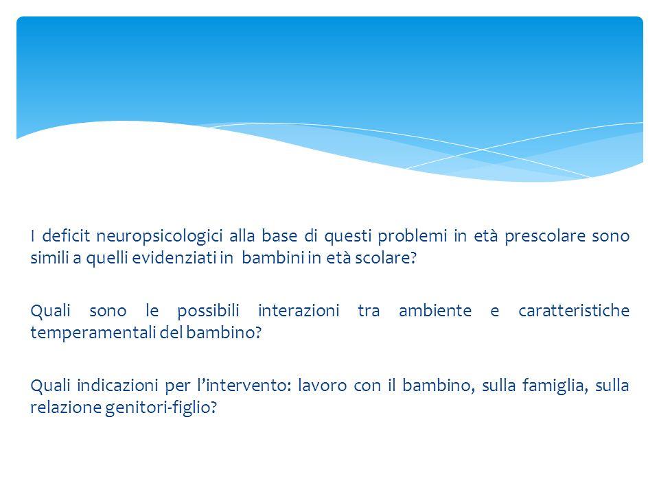 I deficit neuropsicologici alla base di questi problemi in età prescolare sono simili a quelli evidenziati in bambini in età scolare