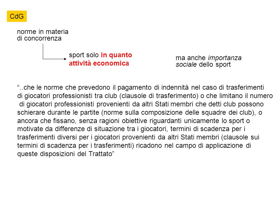 CdG norme in materia di concorrenza. sport solo in quanto attività economica. ma anche importanza sociale dello sport.