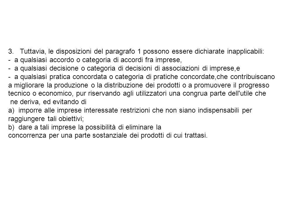3. Tuttavia, le disposizioni del paragrafo 1 possono essere dichiarate inapplicabili: