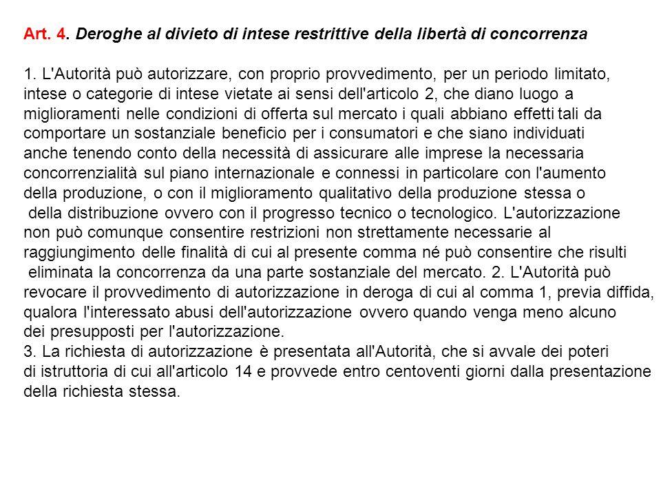 Art. 4. Deroghe al divieto di intese restrittive della libertà di concorrenza