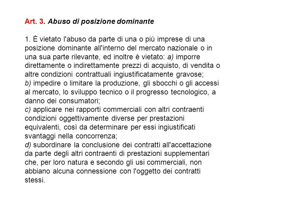 Art. 3. Abuso di posizione dominante