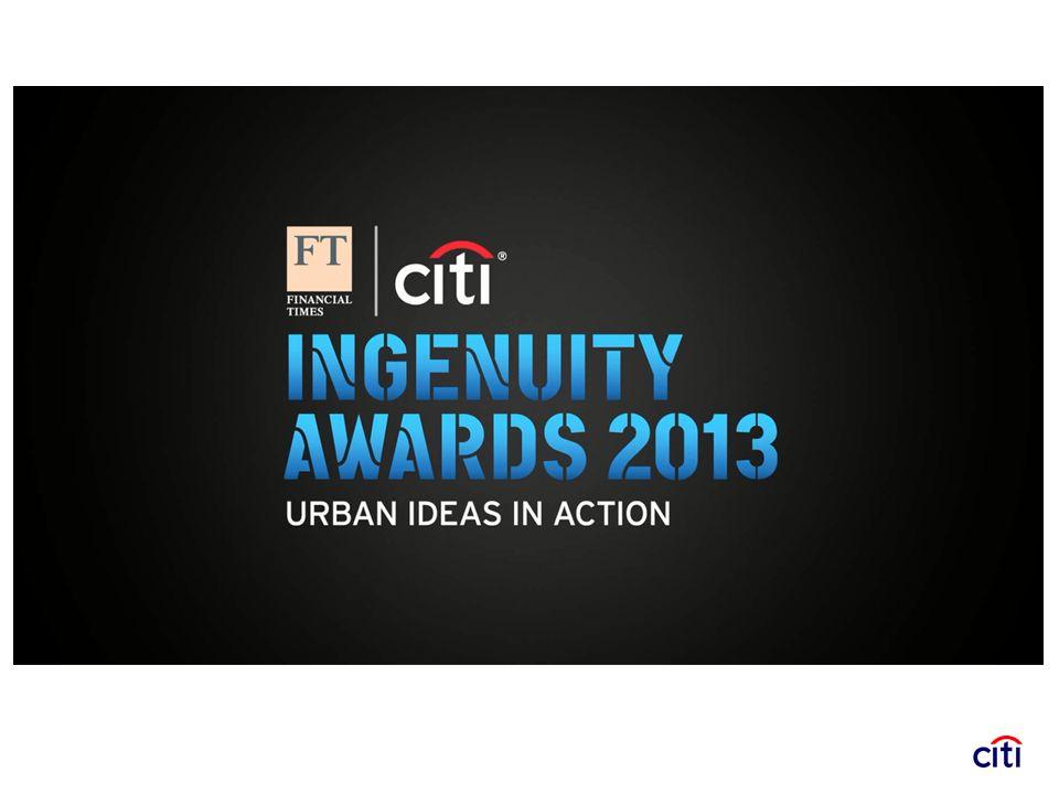 Dal 2012 insieme al Financial Times la nostra banca ha infatti deciso di sponsorizzare il progetto FT/Citi Ingenuity Awards: Urban Ideas in Action , un programma che mira a premiare lo sviluppo di soluzioni innovative relative alle realtà urbane a beneficio dei cittadini e delle comunità che ci vivono.