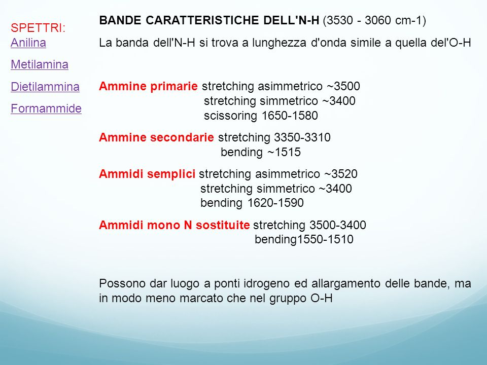 BANDE CARATTERISTICHE DELL N-H (3530 - 3060 cm-1)