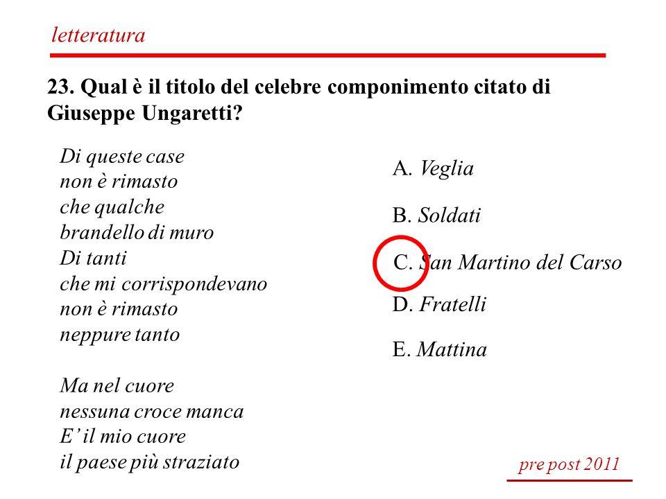 letteratura 23. Qual è il titolo del celebre componimento citato di Giuseppe Ungaretti Di queste case.