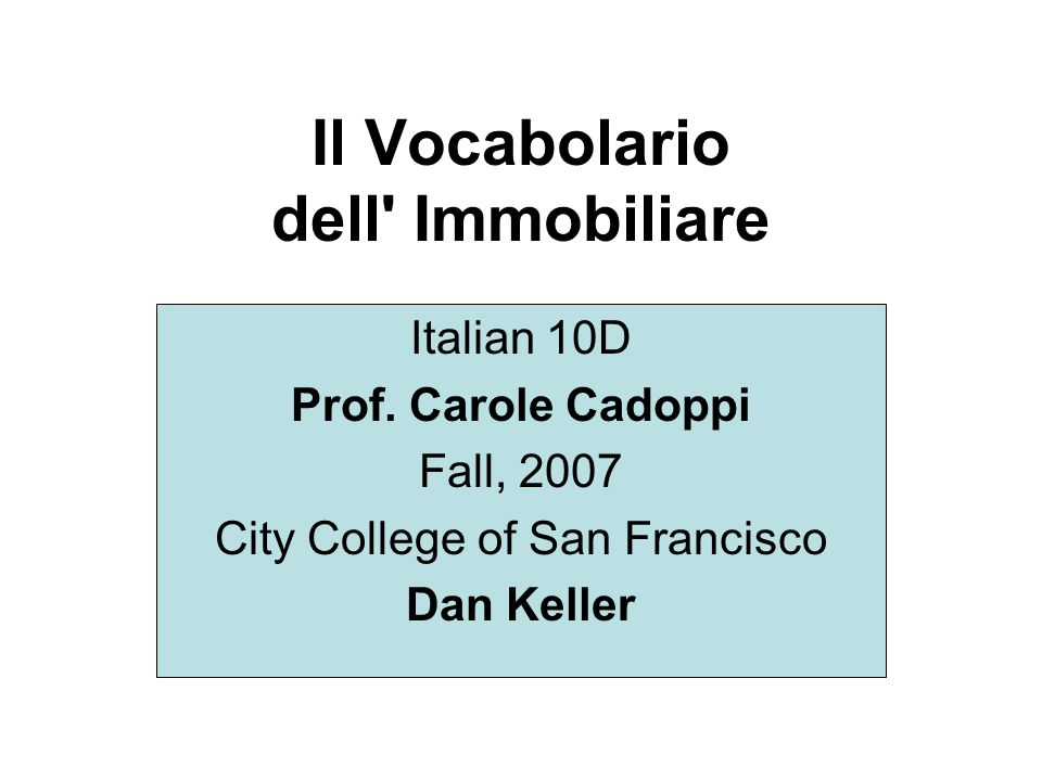 Il Vocabolario dell Immobiliare