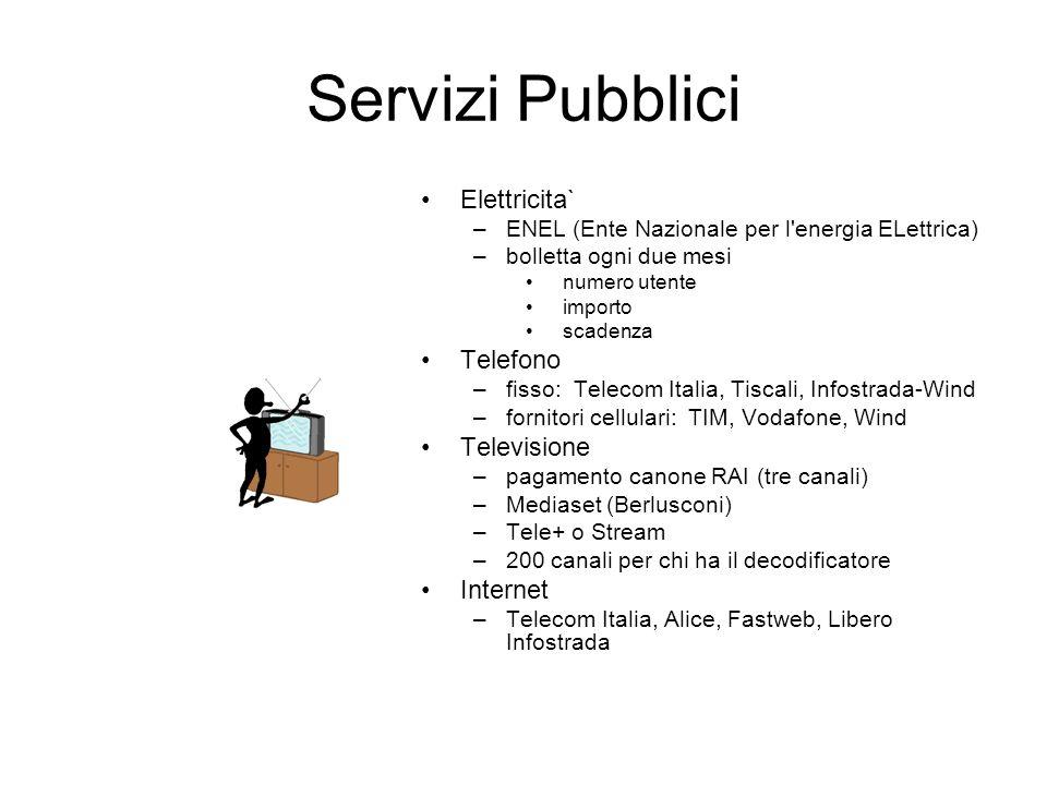 Servizi Pubblici Elettricita` Telefono Televisione Internet