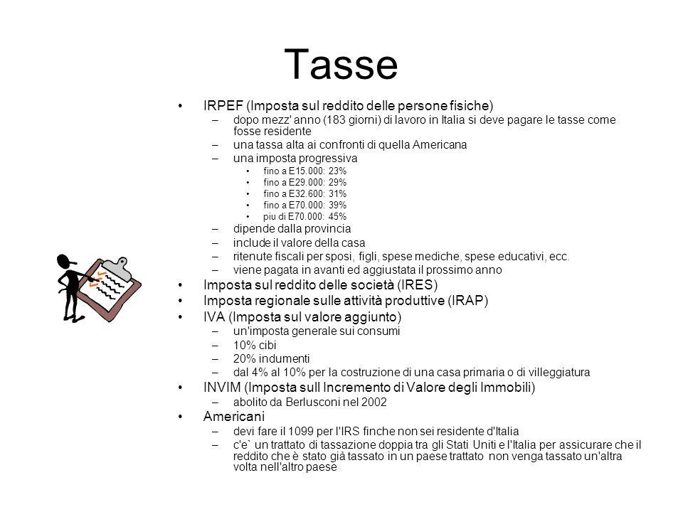 Tasse IRPEF (Imposta sul reddito delle persone fisiche)