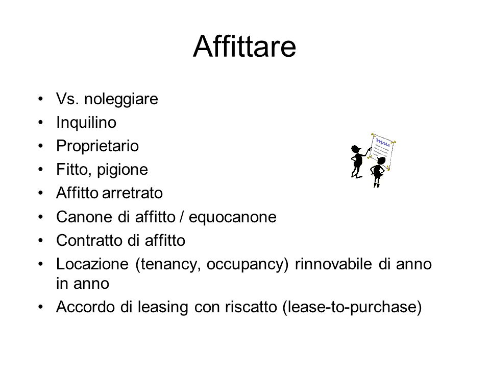 Affittare Vs. noleggiare Inquilino Proprietario Fitto, pigione