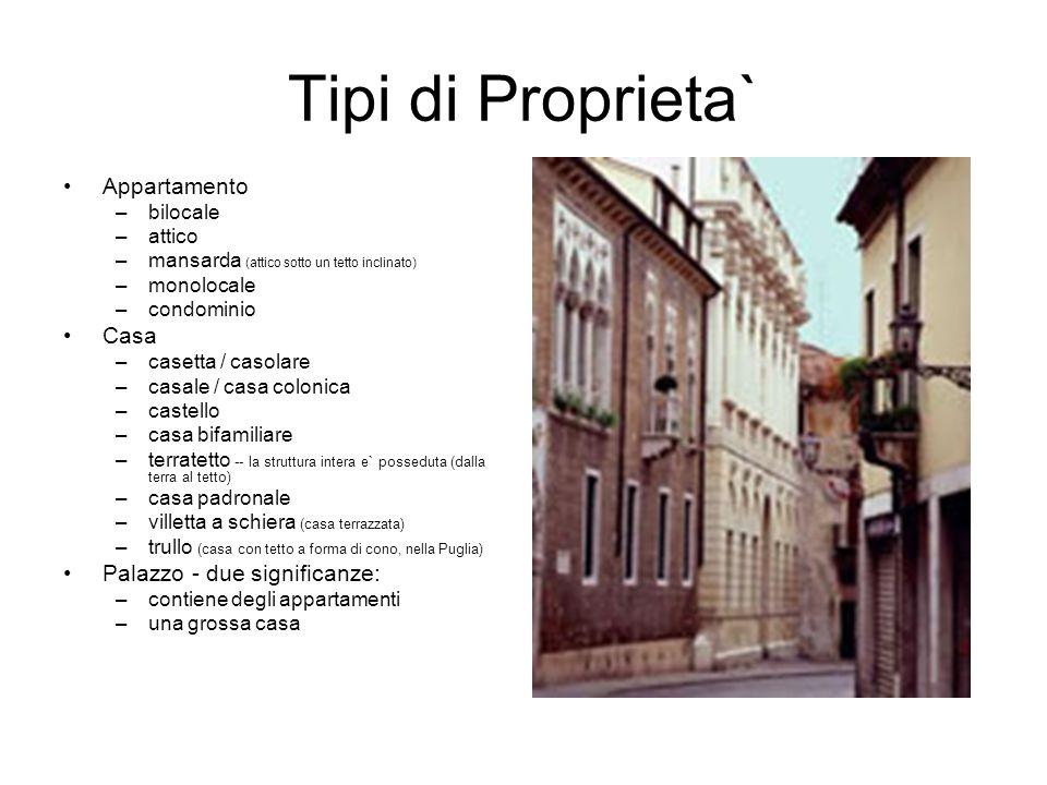 Tipi di Proprieta` Appartamento Casa Palazzo - due significanze: