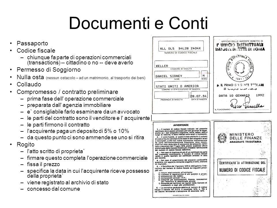 Documenti e Conti Passaporto Codice fiscale Permesso di Soggiorno