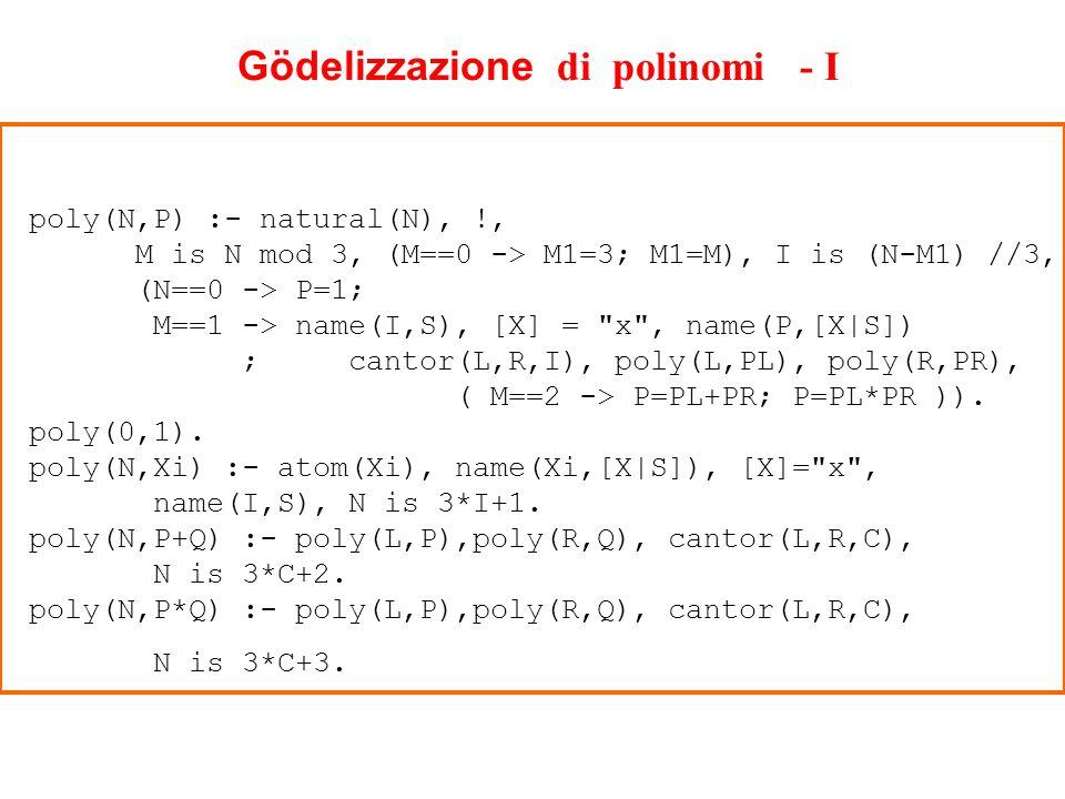 Gödelizzazione di polinomi - I