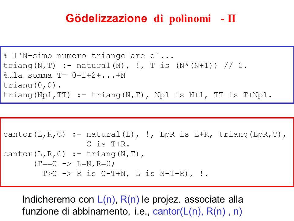Gödelizzazione di polinomi - II