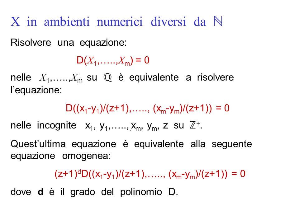 X in ambienti numerici diversi da ℕ