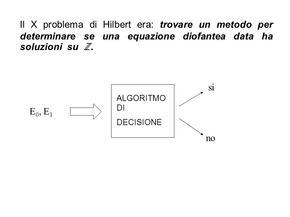Il X problema di Hilbert era: trovare un metodo per determinare se una equazione diofantea data ha soluzioni su ℤ.