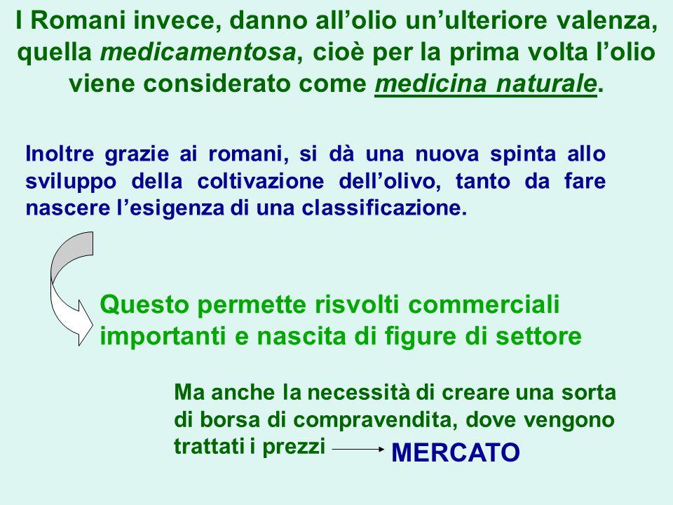 I Romani invece, danno all'olio un'ulteriore valenza, quella medicamentosa, cioè per la prima volta l'olio viene considerato come medicina naturale.