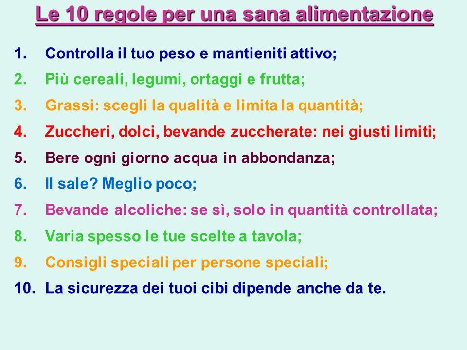 Le 10 regole per una sana alimentazione
