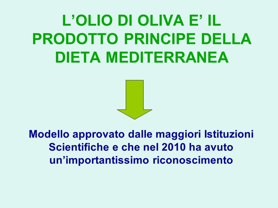 L'OLIO DI OLIVA E' IL PRODOTTO PRINCIPE DELLA DIETA MEDITERRANEA
