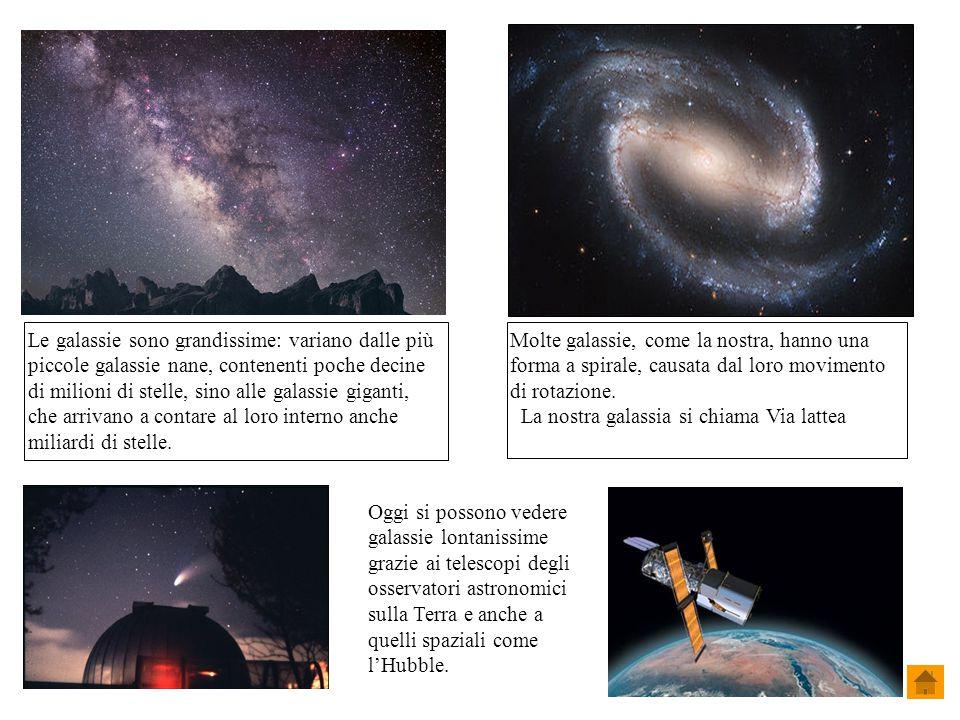 Le galassie sono grandissime: variano dalle più piccole galassie nane, contenenti poche decine di milioni di stelle, sino alle galassie giganti, che arrivano a contare al loro interno anche miliardi di stelle.