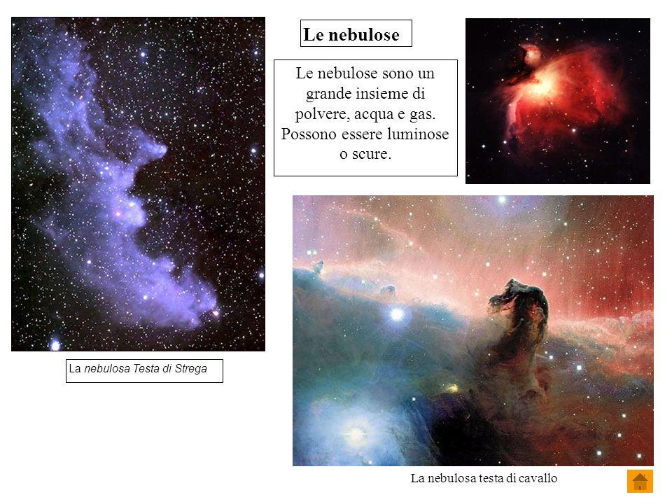 Le nebulose Le nebulose sono un grande insieme di polvere, acqua e gas. Possono essere luminose o scure.