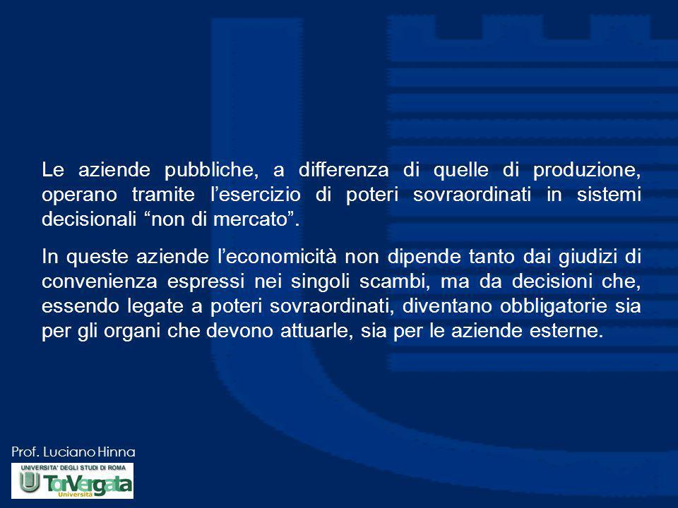 Le aziende pubbliche, a differenza di quelle di produzione, operano tramite l'esercizio di poteri sovraordinati in sistemi decisionali non di mercato .